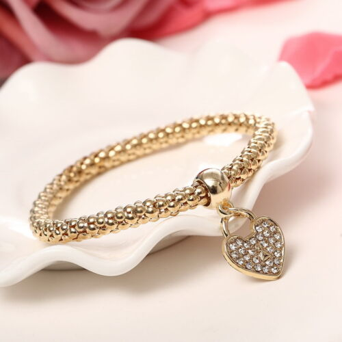 Fashion Women 3Pcs Gold Silver Rose Gold Bracelets Set Rhinestone Bangle Jewelry 8