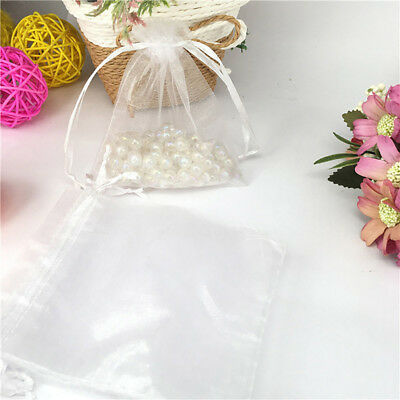 20 50X Small White Organza Bags Wedding Favours Pouches Net Jewellery Bag 9