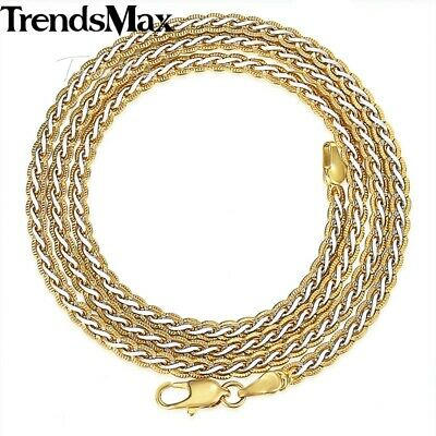 Silver & Gold Braided Wheat Link Gold Filled Necklace Womens Mens Chain Unisex 3