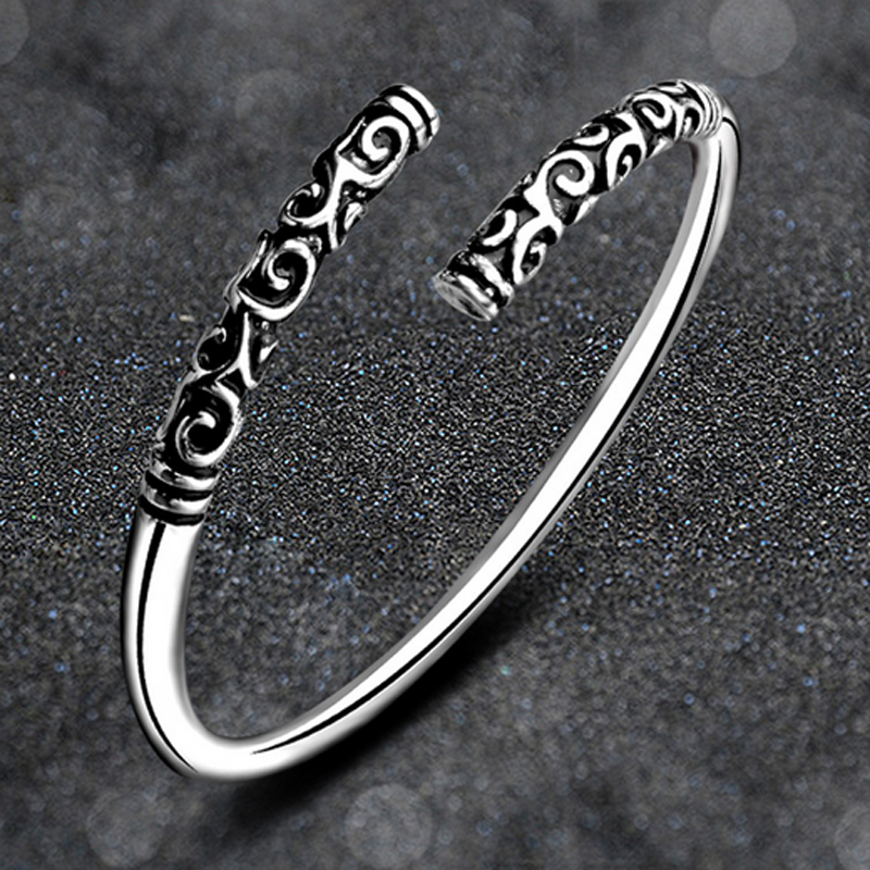 Silver Vintage Viking Open The Cuff Bracelet Bangle Indian Jewelry For Men Gift 8
