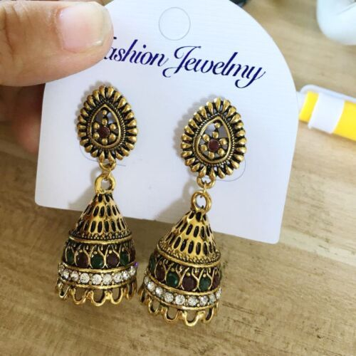 e1ba12be9 Oxidised Plated Gold Jhumka Indian Unique Ethnic Drop Earrings Jewelry 6 6  of 6 See More