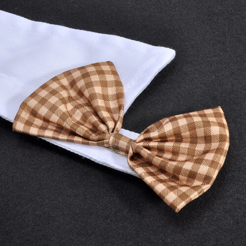 Adorable Dog Cat Pet Puppy Kitten Lattice Fashion Bow Tie Clothes Necktie Collar 6