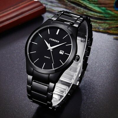CURREN Men Fashion Military Stainless Steel Analog Date Sport Quartz Wrist Watch 7