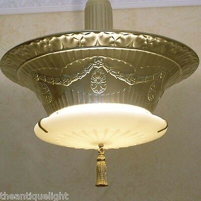 798 Vintage 30's Ceiling Light Lamp Fixture Hall Entryway X-Large 3