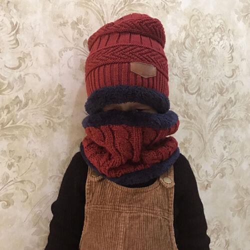2pcs Soft Hat Scarf Set Child kids Baby Girl Boy Winter Warm Knitted Beanie Cap 4