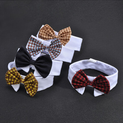 Adorable Dog Cat Pet Puppy Kitten Lattice Fashion Bow Tie Clothes Necktie Collar 2