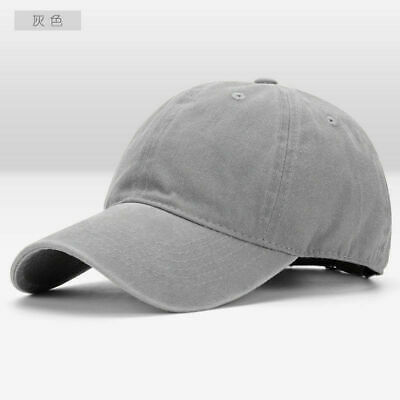 Men Plain Washed Cap Style Cotton Adjustable Baseball Cap Blank Solid Hat Casual 9