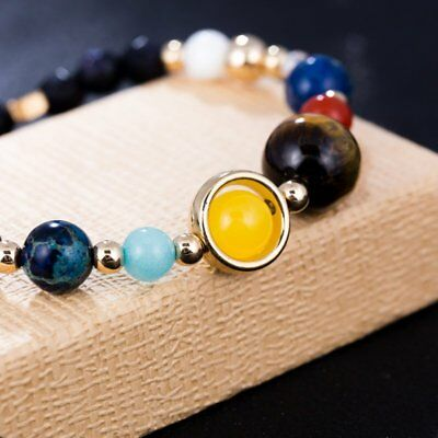 Universe Planets Bead Bangles Natural Solar System Energy Bracelet For Women Men 8
