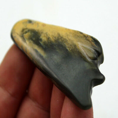 """R689 Antique Chinese Hongshan Culture Old Jade Human Face Mask Pandent 2.4"""" 3"""