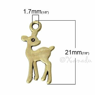 20 Or 50PCs Doe Deer Charms Wholesale Female Fawn Deer Pendants C3728-10