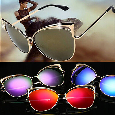 Fashion Women Cat Eye Shape Glasses Metal Frame Aviator Sunglasses Eyewear