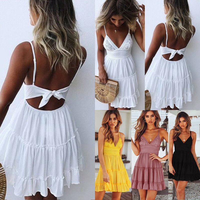 Womens Boho Strappy V Neck Lace Swing Mini Dress Floral Summer Beach Sundress 3