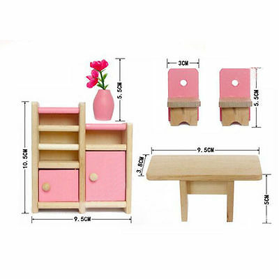 Kid's Children Wooden Furniture Dolls Family House Miniature 6 Room Set Doll Toy 3