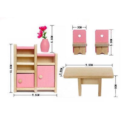 Kids Pink Wooden Furniture Dolls House Miniature Room Set Doll Toys For Gift DIY 3