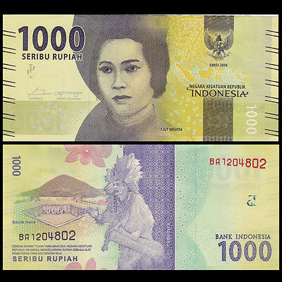 Lot 10 PCS, Indonesia 1000 Rupiah, 2016/2017, P-NEW, UNC>New Design 2