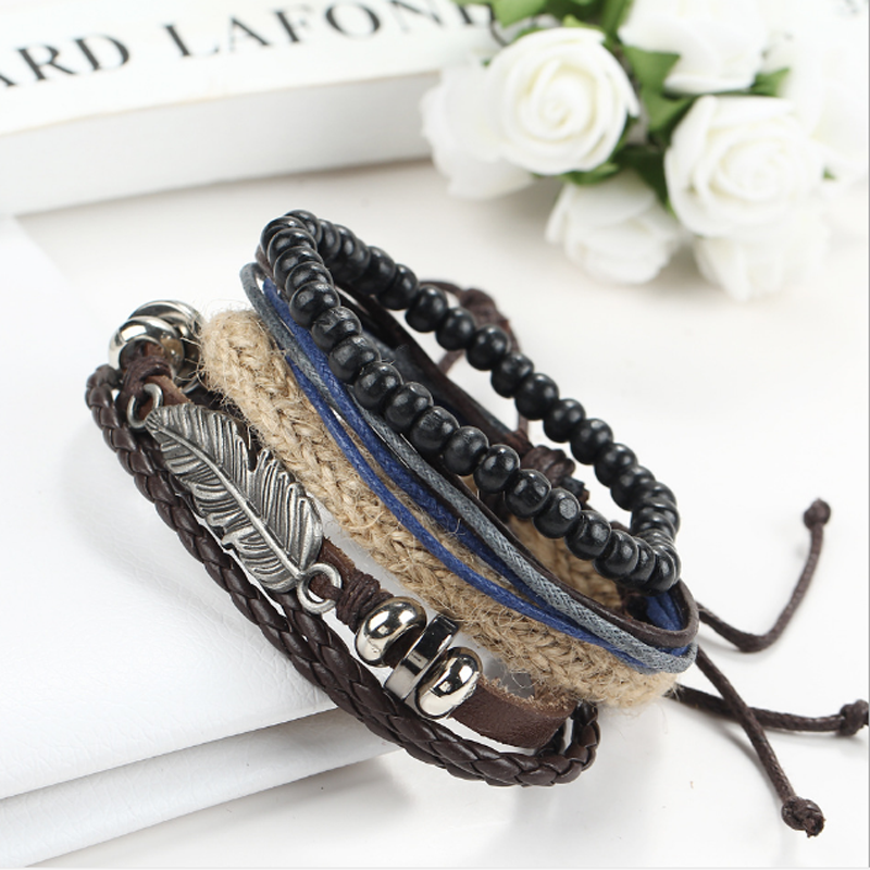 Fashion Punk Women/Men Multilayer Wrap Leather Braided Cuff Bracelet Wristband 3
