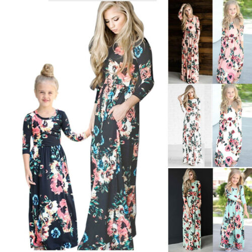 Family Clothes Mother Daughter Dresses Womens Girls Floral Long Maxi Dress 2