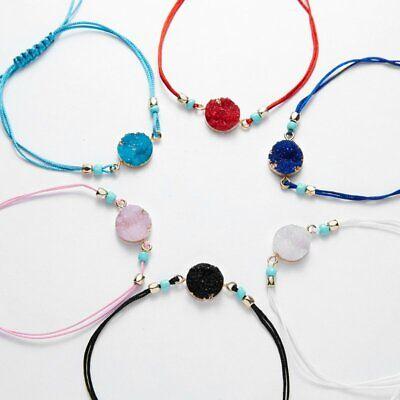 Handmade Make A Wish Natural Stone Braided Bracelet Bangle Women Jewelry Gift 4