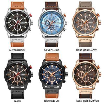 Men Waterproof Leather Aviator Army Military Chronograph Date Quartz Wrist Watch 2