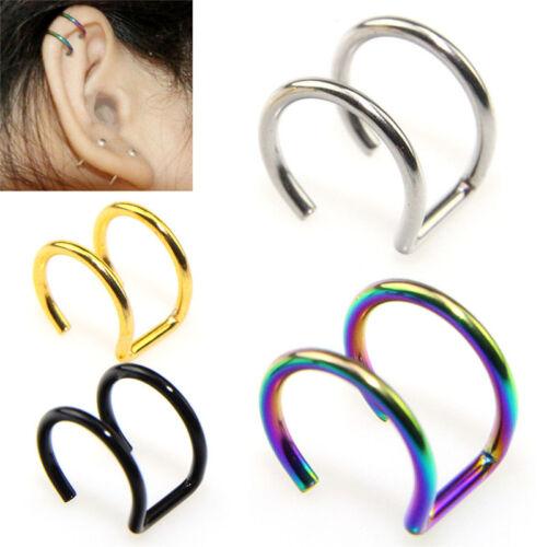 2X Men Women Fake Nose Lips U Ring Ear Clip Hoop Earrings Unisex No Piercing TI