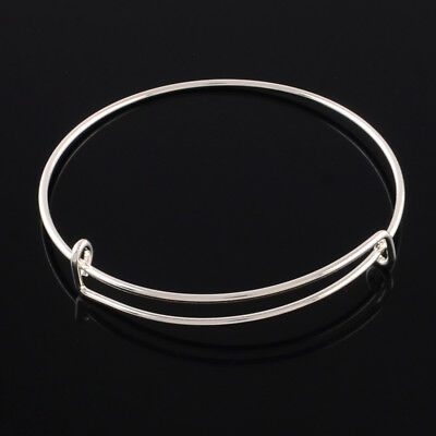 10 x Silver Expandable Wire Bangle Blanks Charm Bracelet Jewellery 70mm diameter 3