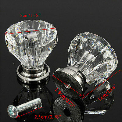 30mm Diamond Crystal Acrylic Cabinet Knob Cupboard Drawer Pull Handle Practical 5