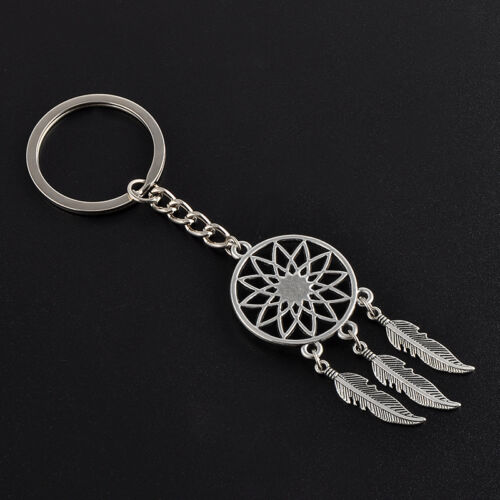 New Silver Metal Key Chain Ring Feather Tassels Dream Catcher Keyring Keychain 3