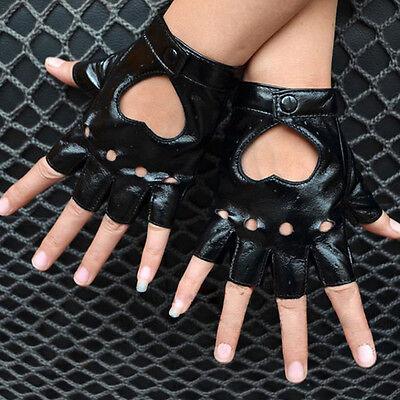 Women Punk Leather Driving Biker Fingerless Mittens Dance Motorcycle Gloves V_MR 3