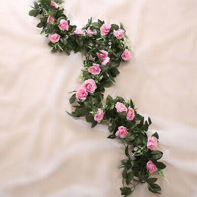 2.5m Artificial Flower Silk Rose Leaf Garland Vine Ivy Home Wedding Garden Deor 7