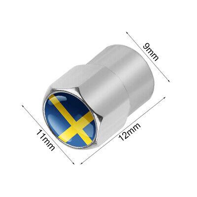 Dust Caps x4 SWEDEN Flag Logo Silver Tyre Valve Badge Swedish VOLVO SAAB SCANIA