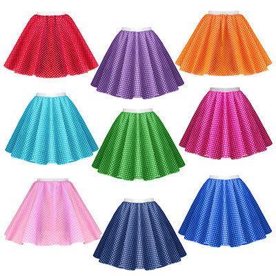 GIRLS CHILD 1950s Rock n Roll Polka Dot Dance Skirt Fancy Dress GREASE Costume 2