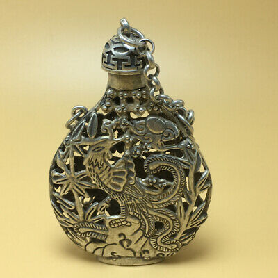 chinese Tibetan silver old copper hand carved Kirin phoenix statue snuff bottle 5