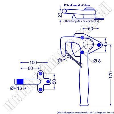 Winkelhebelverschluss Bordwandverschluss rechts Gr. 1 mit Einfallöse Gegenhalter