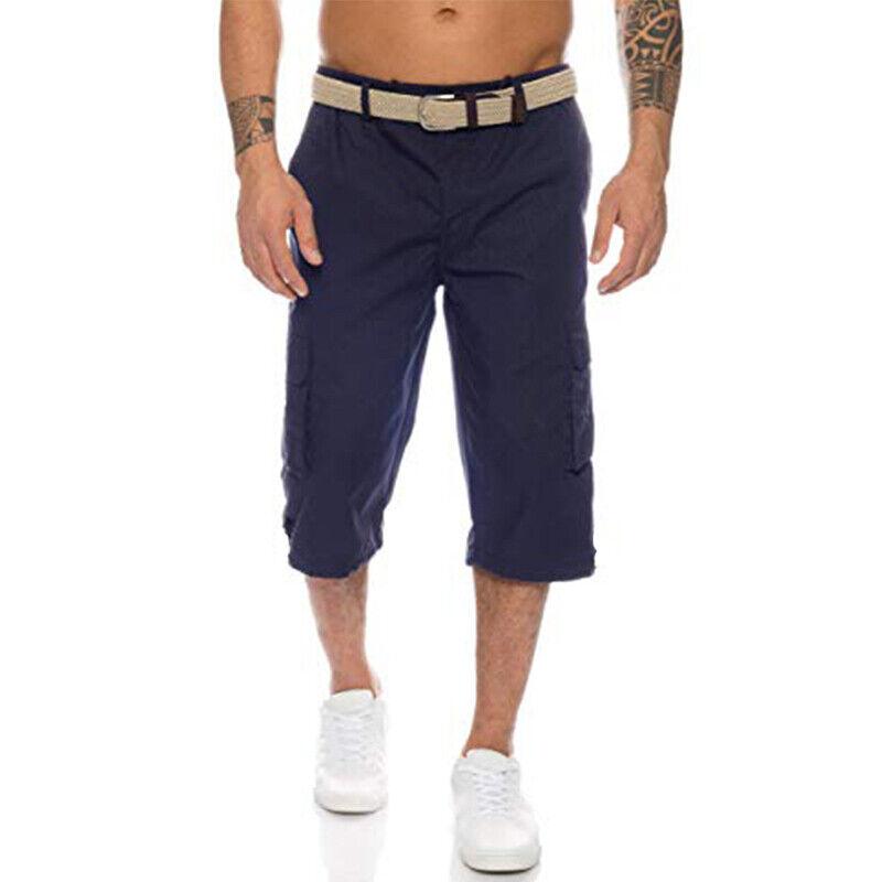 Mens 3/4 Length Cargo Coombat Pants Casual Loose Elastic Waist Shorts Trousers 7