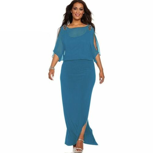 dd5144e530e6 Plus Size Womens Cold Shoulder Chiffon Evening Party Casual Formal Maxi  Dress 6 6 of 9 ...