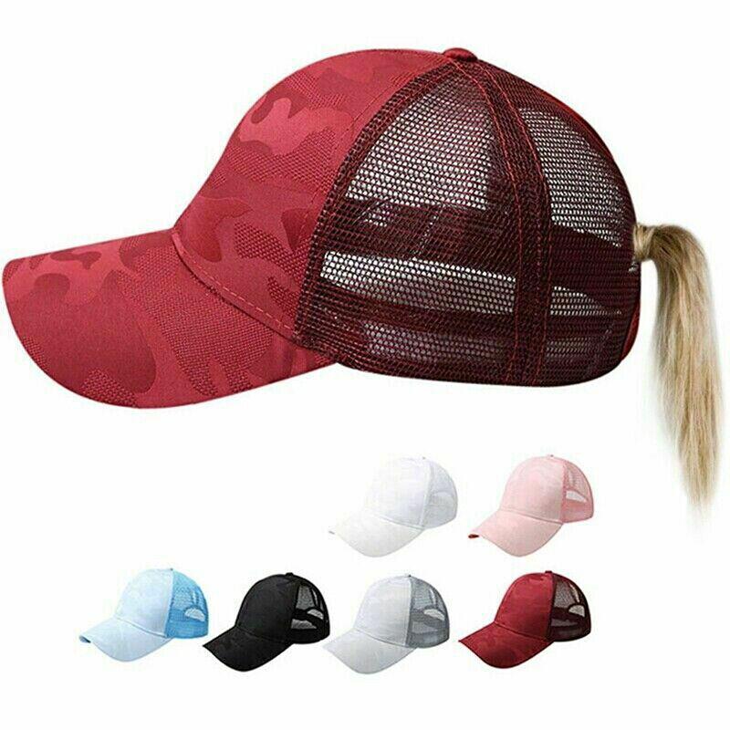 Women Pony Cap Messy High Bun Ponytail Adjustable Mesh Baseball Hat Cute Ne CP 2