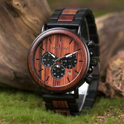 Luxury Design BOBO BIRD Japan Quartz Wrist Watch Men Women 44mm Gift Box Wood 6