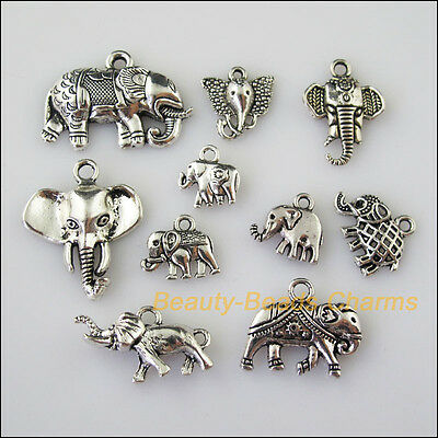 10 New Mixed Lots of Tibetan Silver Tone Animal Elephant Charms Pendants