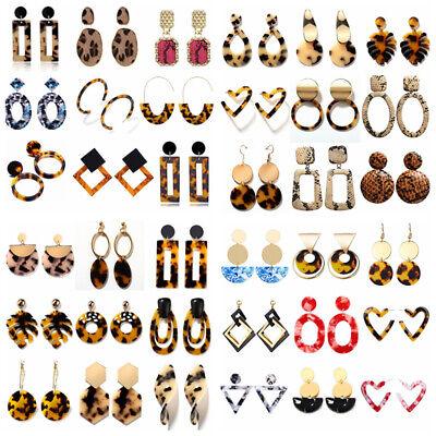 HOT Acrylic Statement Tortoise Shell Earrings Fashion Hoop Resin Dangle Earrings 4