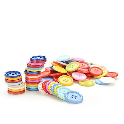 100 Stück Mischfarbe Tasten 4 Löcher Kinder DIY Handwerk 10mm 5 Größen BCDE 6