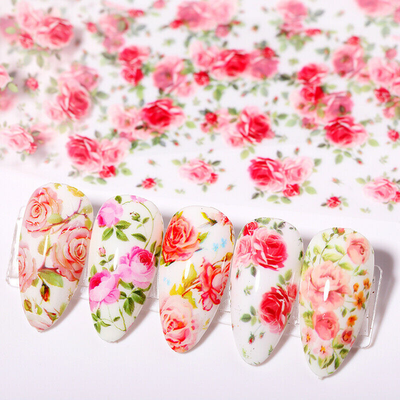 10 Sheets Nail Art Foils Stickers Flower Pattern Transfer Decals Decoration DIY 5