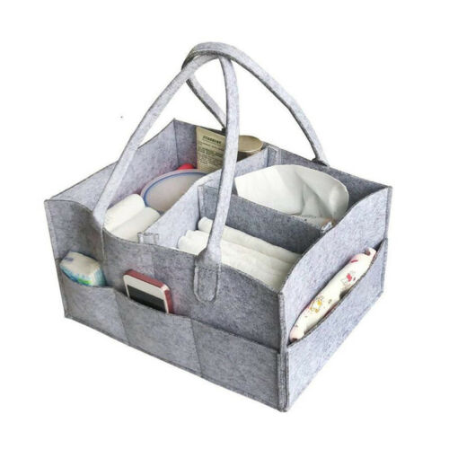 Baby Diaper Organizer Caddy Felt Changing Nappy Kids Storage Carrier Bag N7 7