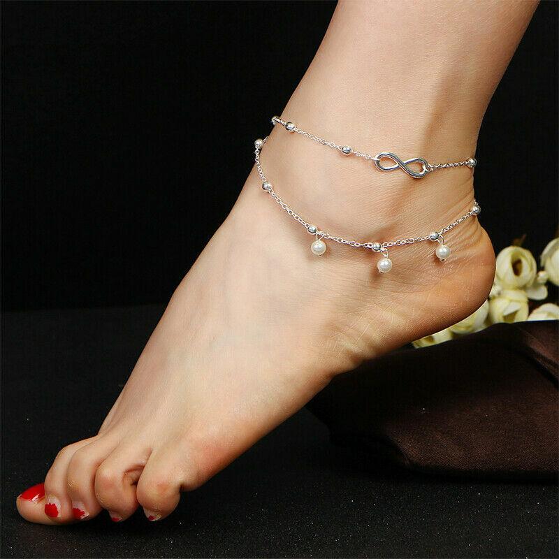 Womens Ankle Bracelet 925 Sterling Silver Anklet Foot Chain Boho Beach Beads UK 6