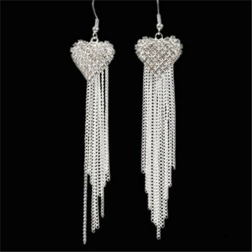 Chic Ladies Love Heart Shape Tassel Earrings Anniversary Party Jewellery one 8