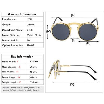 3085e21e448b ... Vintage Retro Flip-up Lens Steampunk Sunglasses Men Womens Round  Eyewear Glasses 4