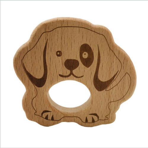 Wooden Lovely  Animal Shape Baby Teether Chewing Bite Pacifier Necklace Toy Jian