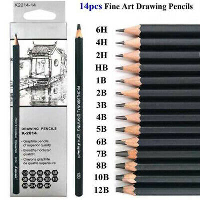 14*Sketch Art Drawing Pencil Sets 12B 10B 8B 7B 6B 5B 4B 3B 2B 1B HB 2H 4H 6H UK 8