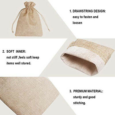 50pcs Small Burlap Jute Hessian Wedding Favor Gift Candy Bags Drawstring Pouches 8