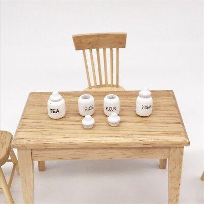 4 Dollhouse Miniature Wood Kitchen Food Sugar Flour Tea Rice Jars Pot 1/12 Decor 5