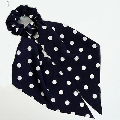 Simple Dot Stripes Floral Scrunchie Bow Streamers Hair Ties Ponytail Hair Ropes 6